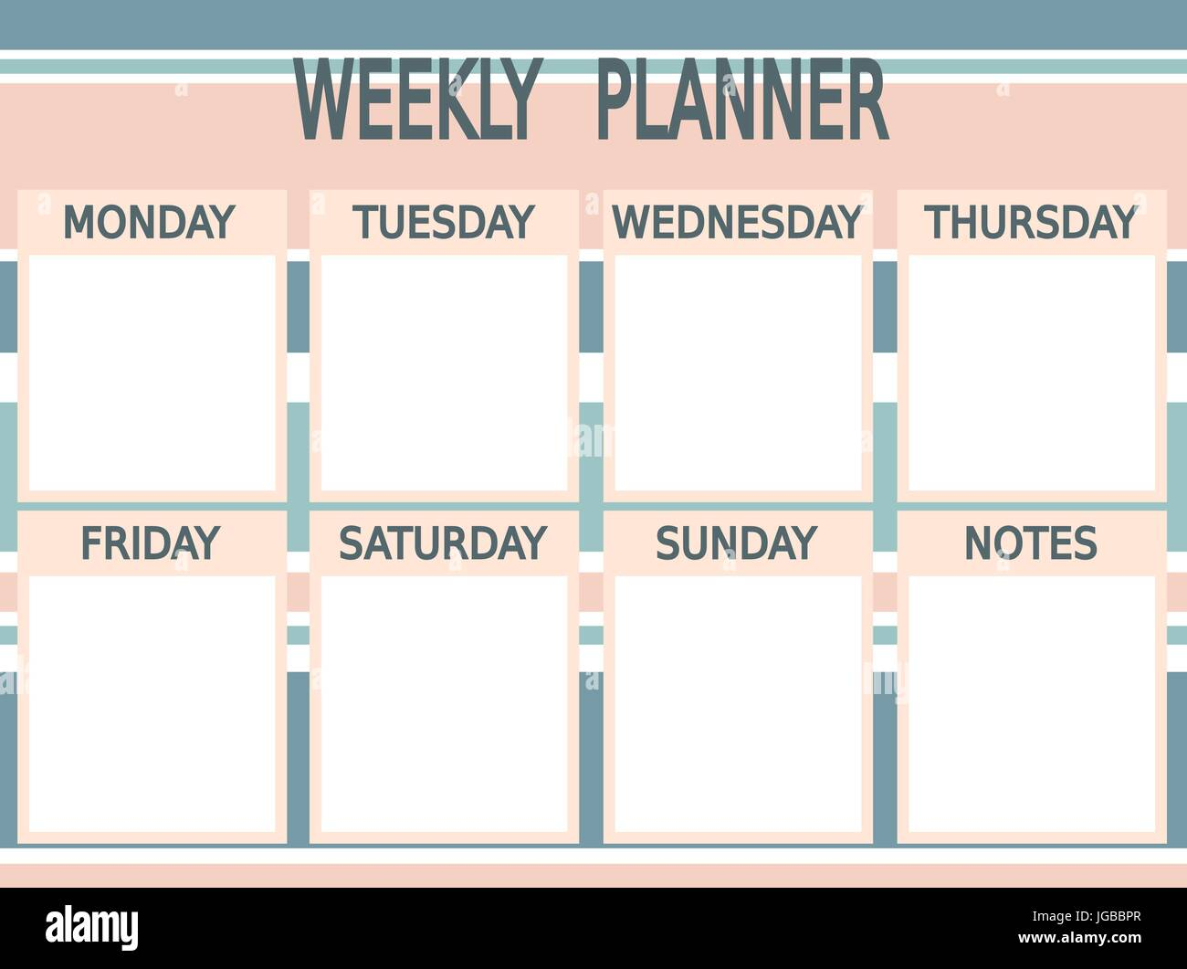 photograph relating to Cute Weekly Planners identified as adorable blue red vector printable weekly planner with stripes