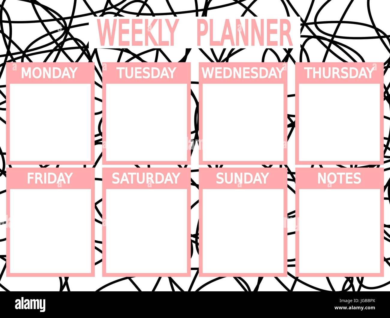 graphic about Cute Weekly Planner Printable identify lovable black red vector printable weekly planner Inventory Vector