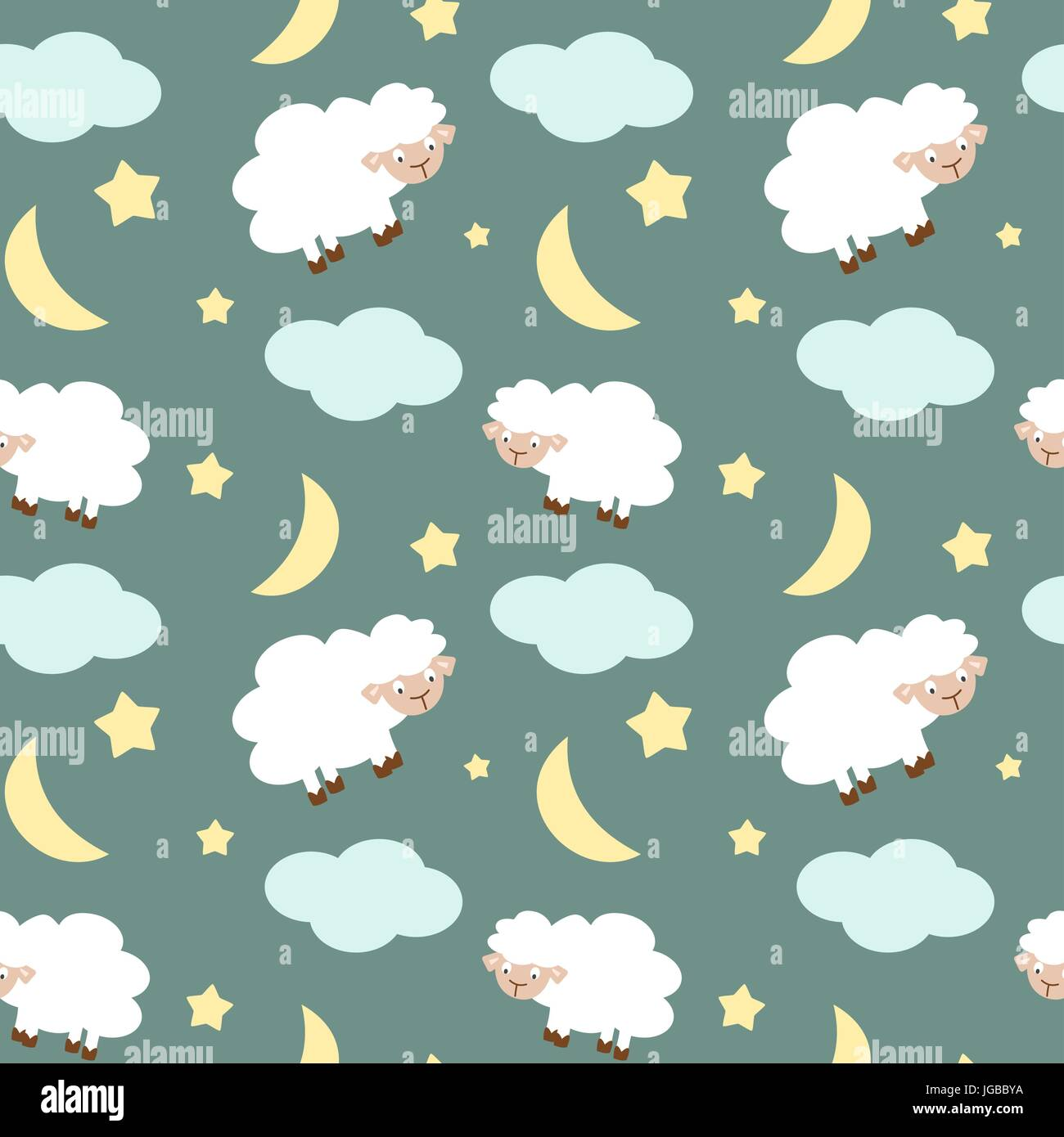 Cute Sheep In The Night Sky With Stars Moon And Clouds Seamless Vector Pattern Background Illustration