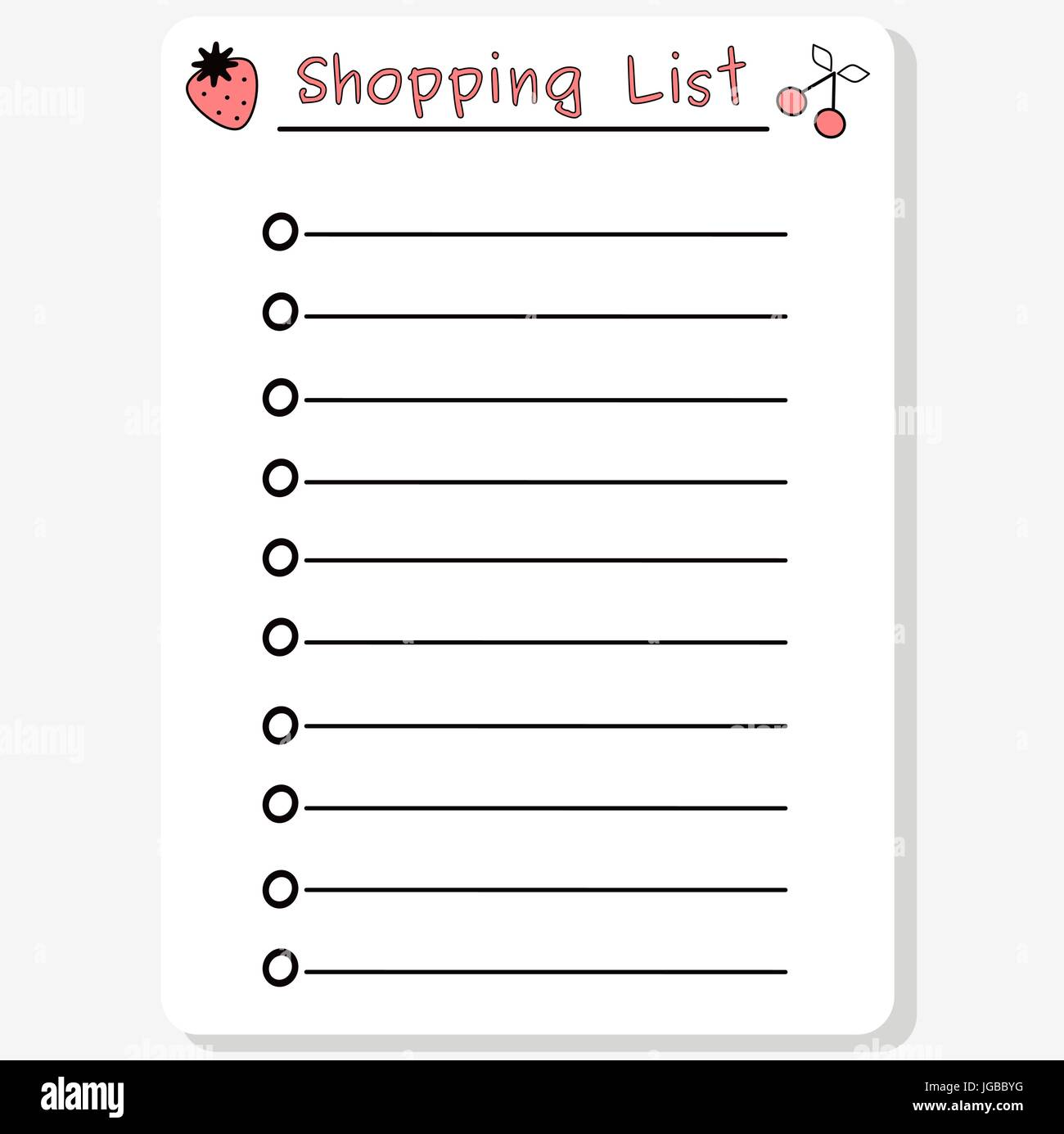 cute black white pink vector printable shopping list with strawberry and cherry illustration