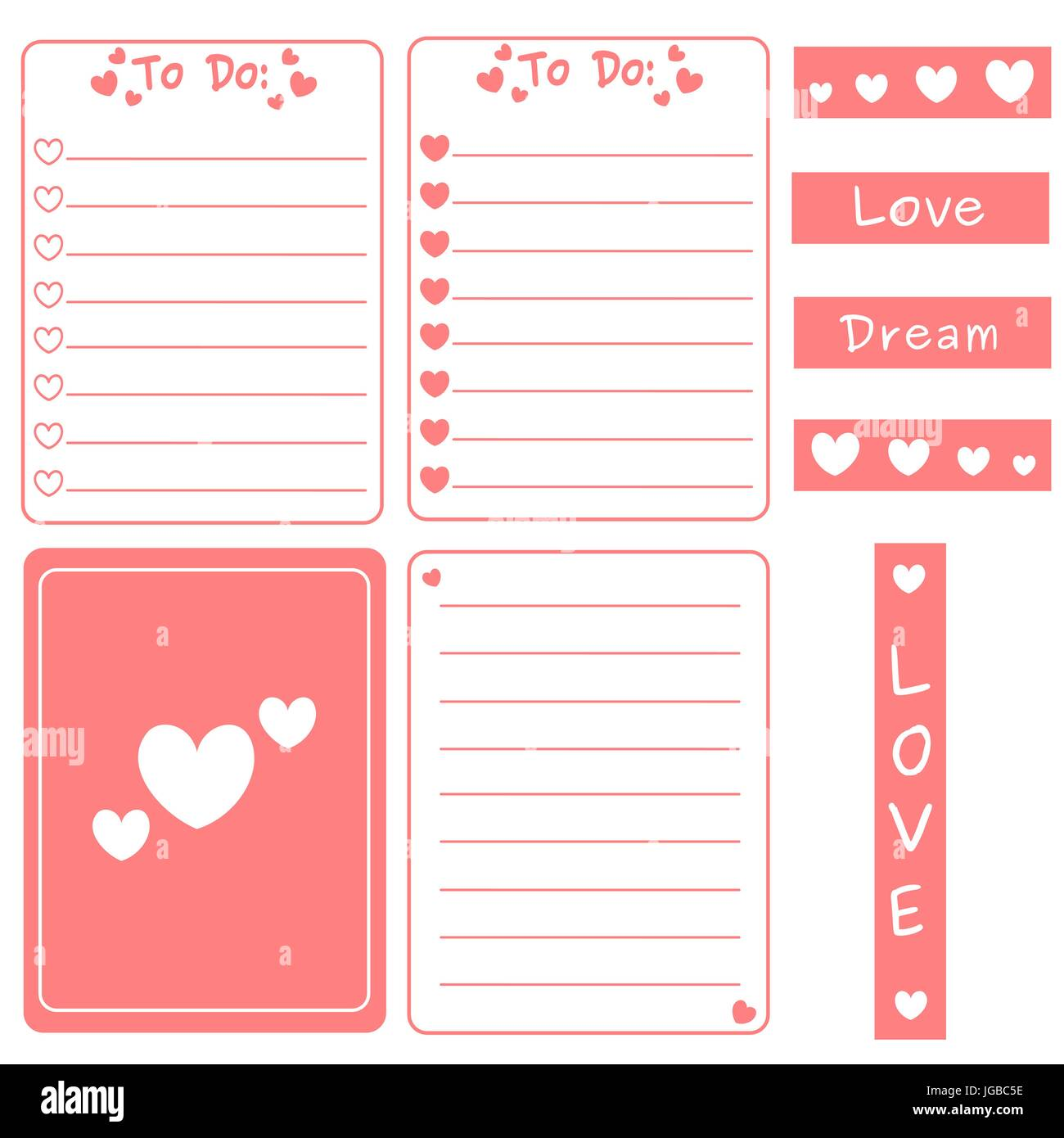 cute pink vector set of printable template for cards notes journal