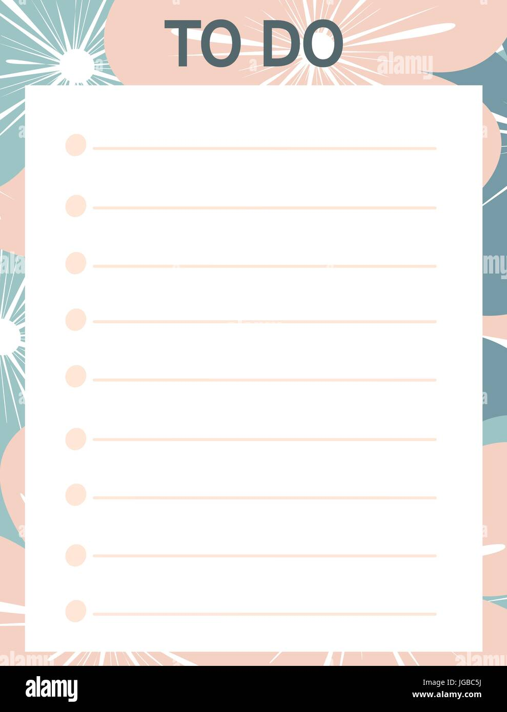 cute pink blue vector printable to do list with flowers stock vector