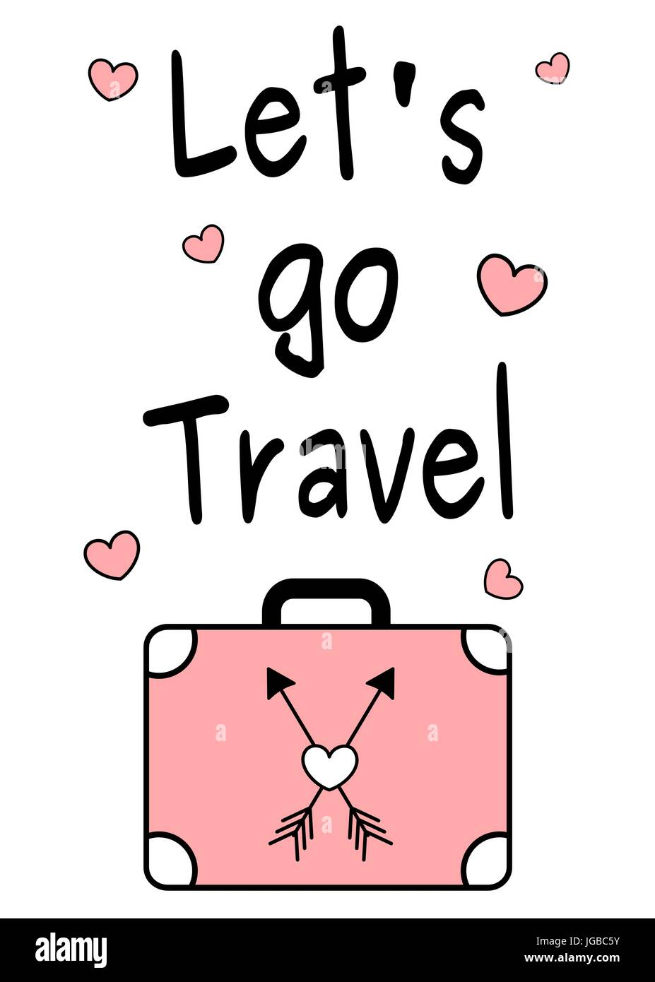 black white pink let's go travel quote vector ...