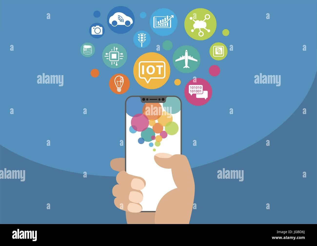 Internet of things / IOT concept. Vector illustration of hand holding modern bezel-free / frameless smartphone with icons Stock Vector