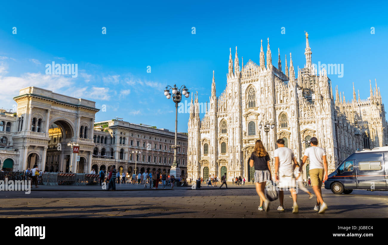 Piazza Duomo in Milan, Italy - Duomo cathedral and Galleria Vittorio Emanuele II - Stock Image