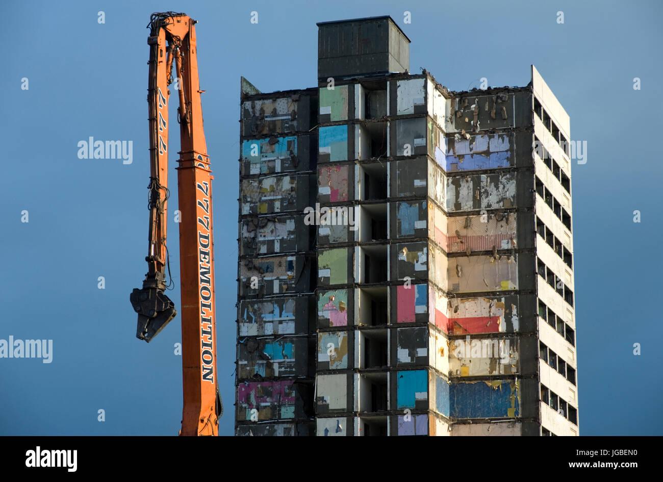 Demolition of tower block in Larne, County Antrim, Northern Ireland. - Stock Image