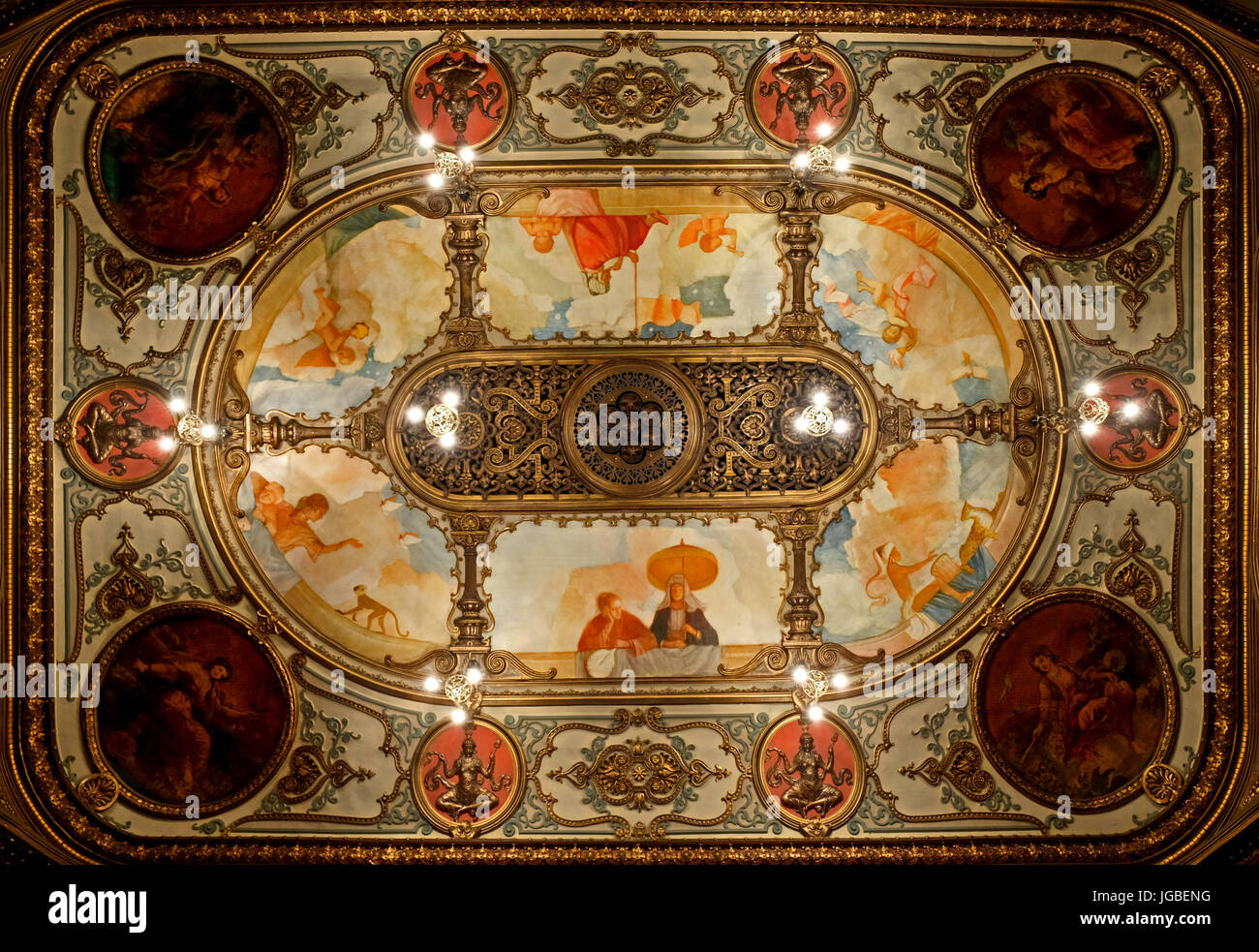 Ceiling of the Grand Opera House, Belfast. - Stock Image