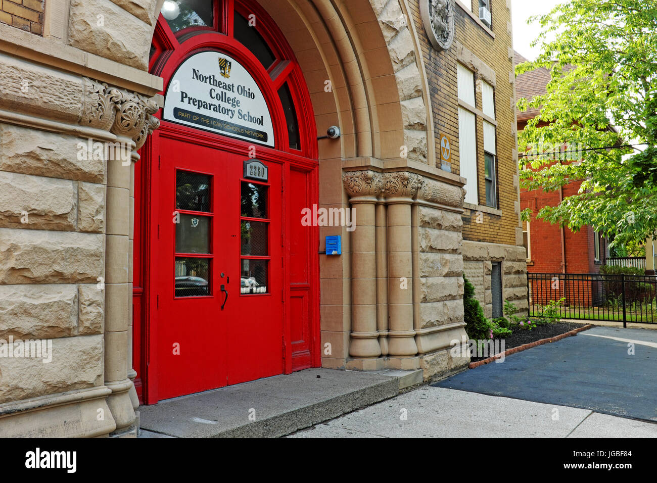 The public charter Northeast Ohio College Prepatory School in the Tremont neighborhood of Cleveland, Ohio, serves - Stock Image