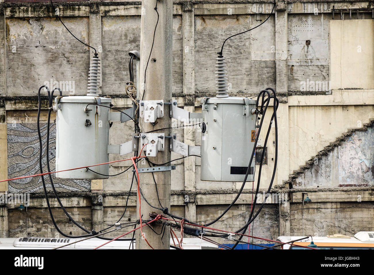 Philippines Electricity Stock Photos Eagle Wiring Devices Old Reinforced Concrete Pole With Electrical Wires In Image