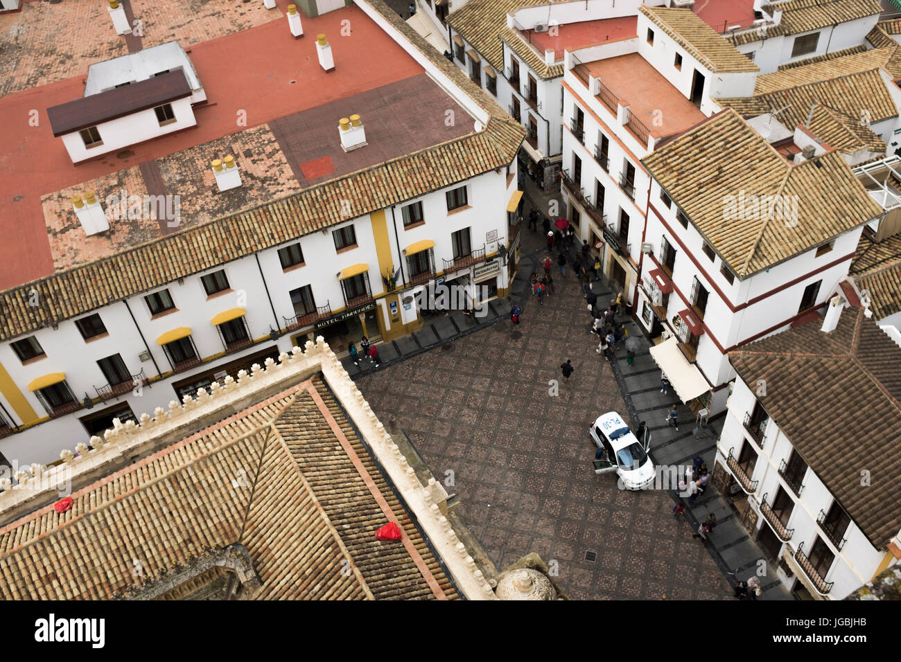 Aerial view of Calle Cardenal Herrero, from the Mezquita bell tower, Cordoba, Spain, - Stock Image