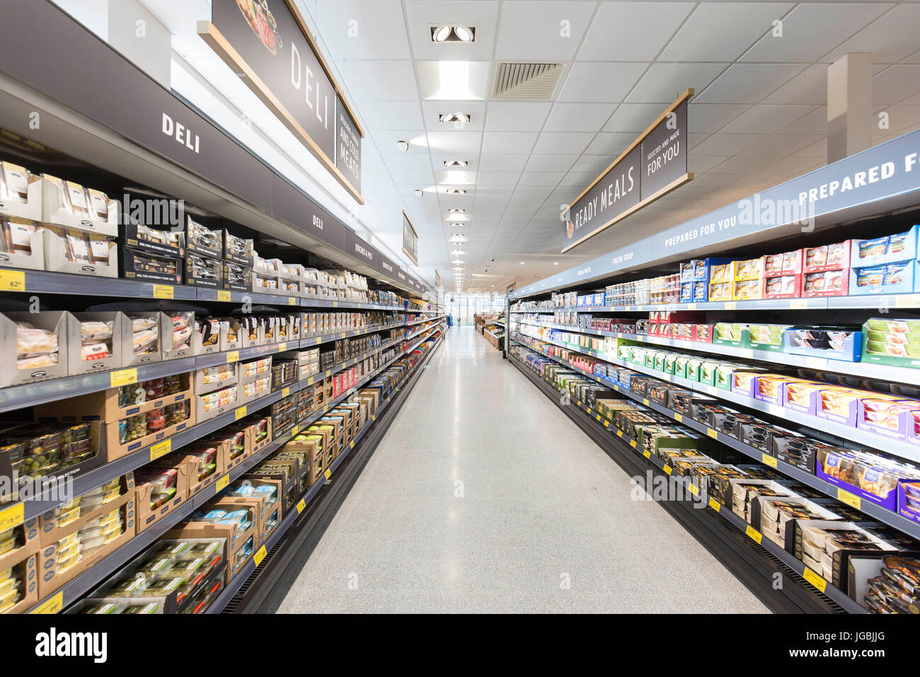 Interior pictures of an Aldi supermarket - Stock Image