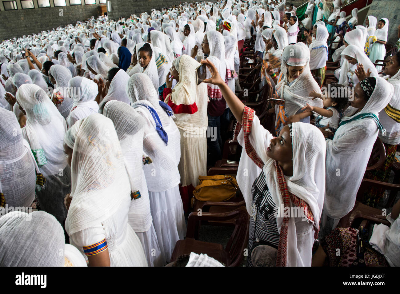 Ethiopian Orthodox Christian women during the St Yared day service inside Our Lady of Lebanon Church Harissa Lebanon. - Stock Image