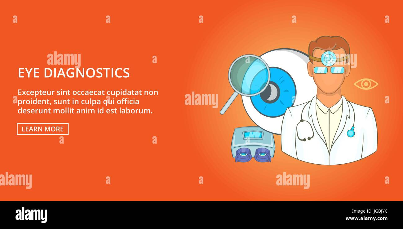 Eye diagnostics banner horizontal, cartoon style - Stock Image