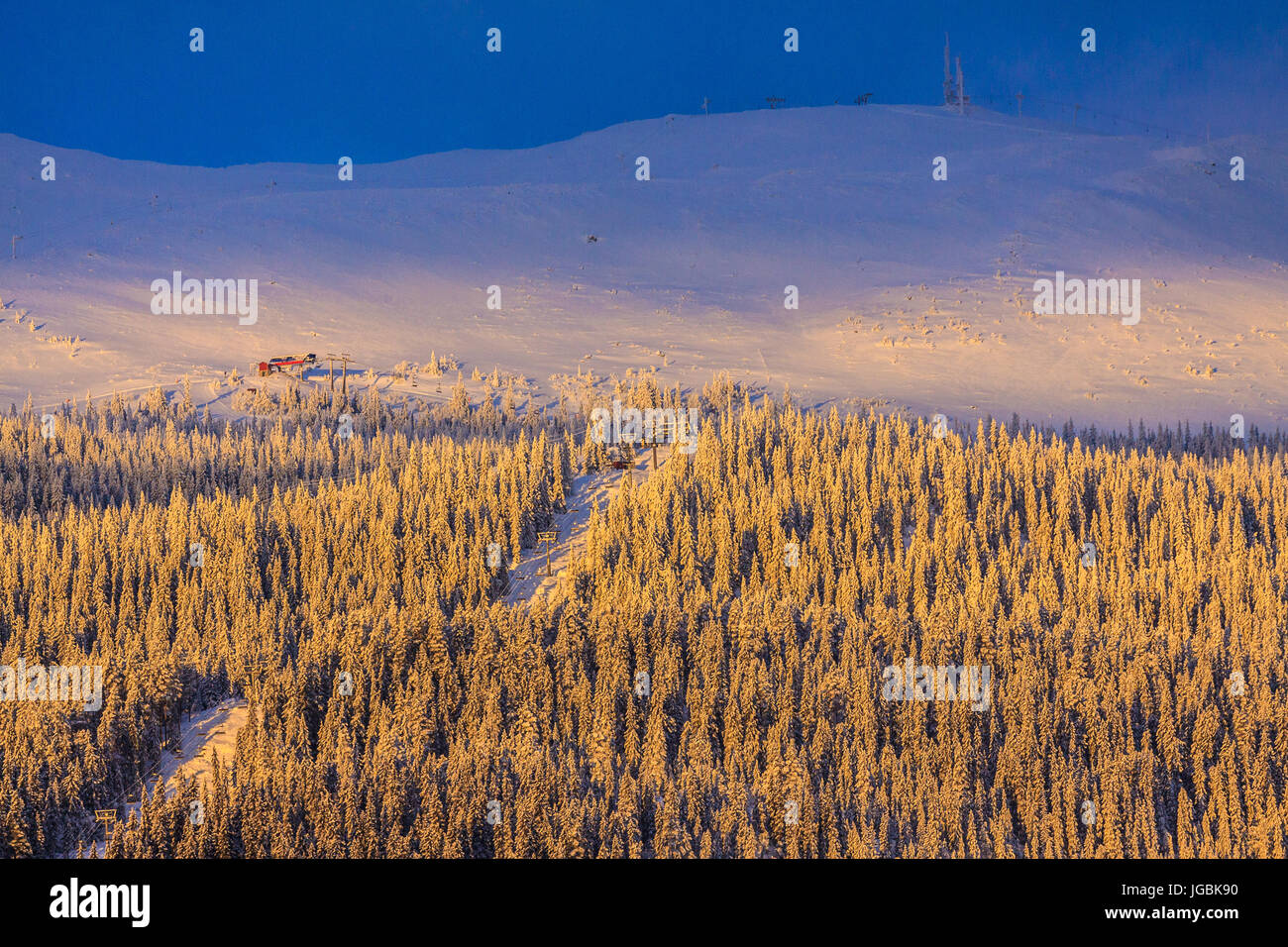 Alpine skiing resort in the mountains of Trysilfjellet, Trysil, Norway - Stock Image