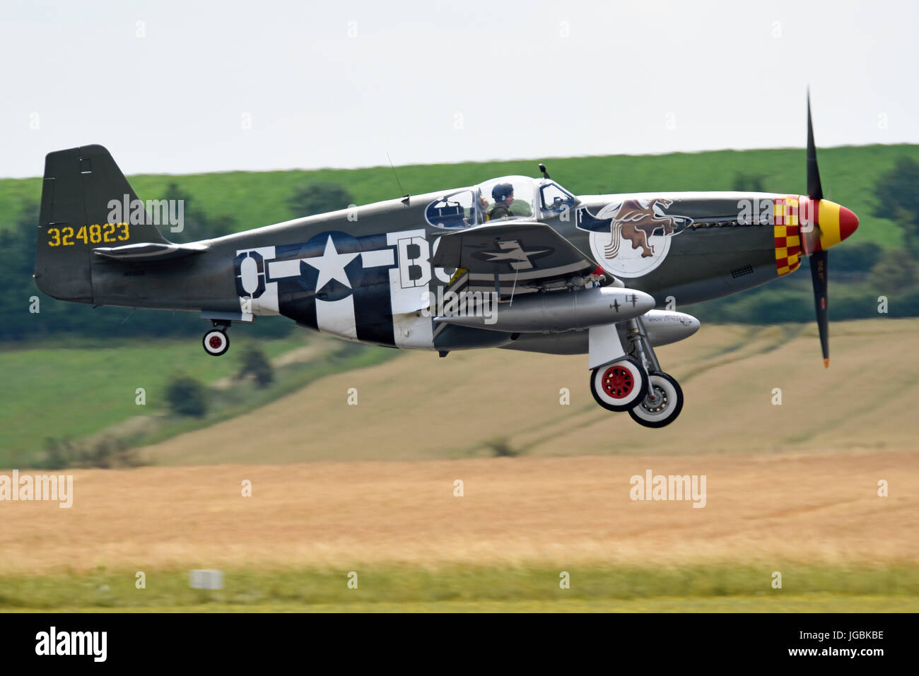 North American P-51B plane named Berlin Express which has flown from the US to appear at airshows in the UK. Duxford, - Stock Image