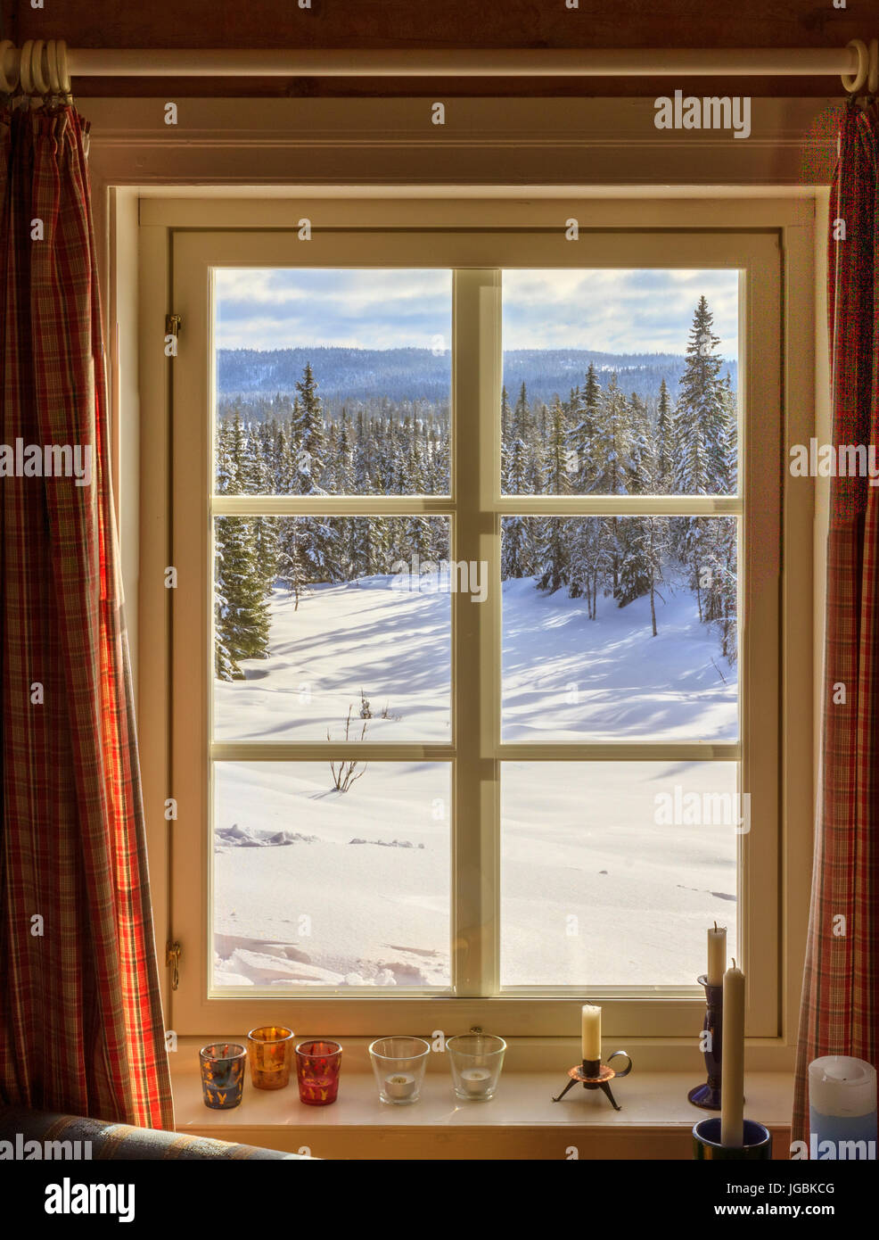 Looking Through An Old Squared Window Outside Is Snow And