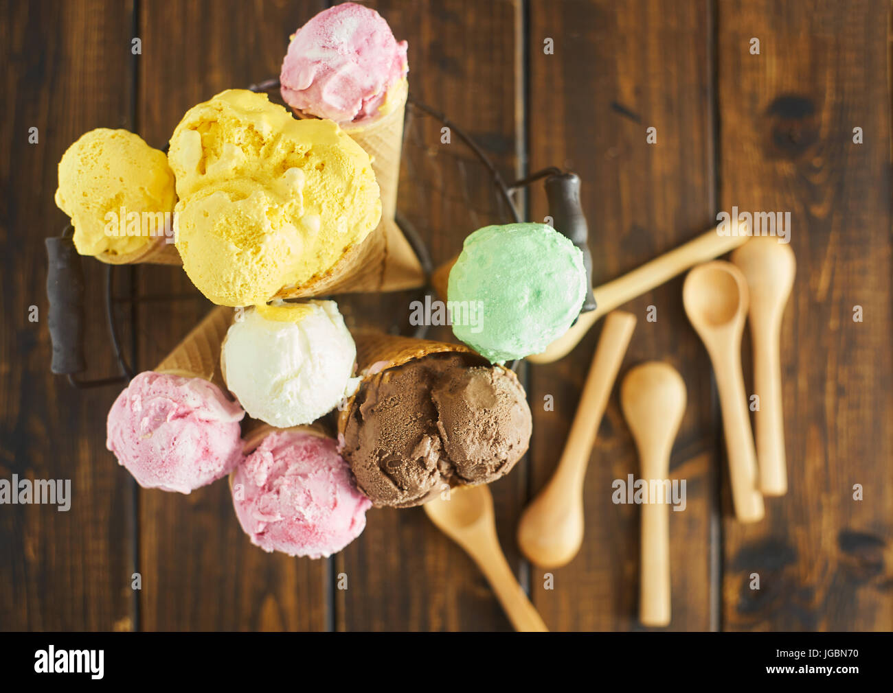 Top view of ice cream cones - Stock Image