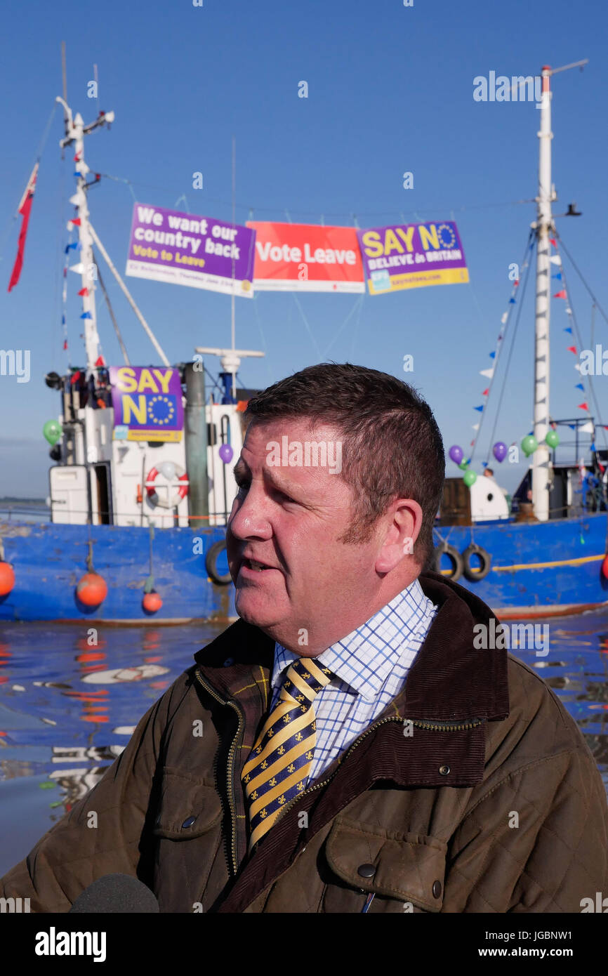 Mike Hookem MEP on board one of the support leaving the EU fishing boats during the Brexit referendum. Stock Photo