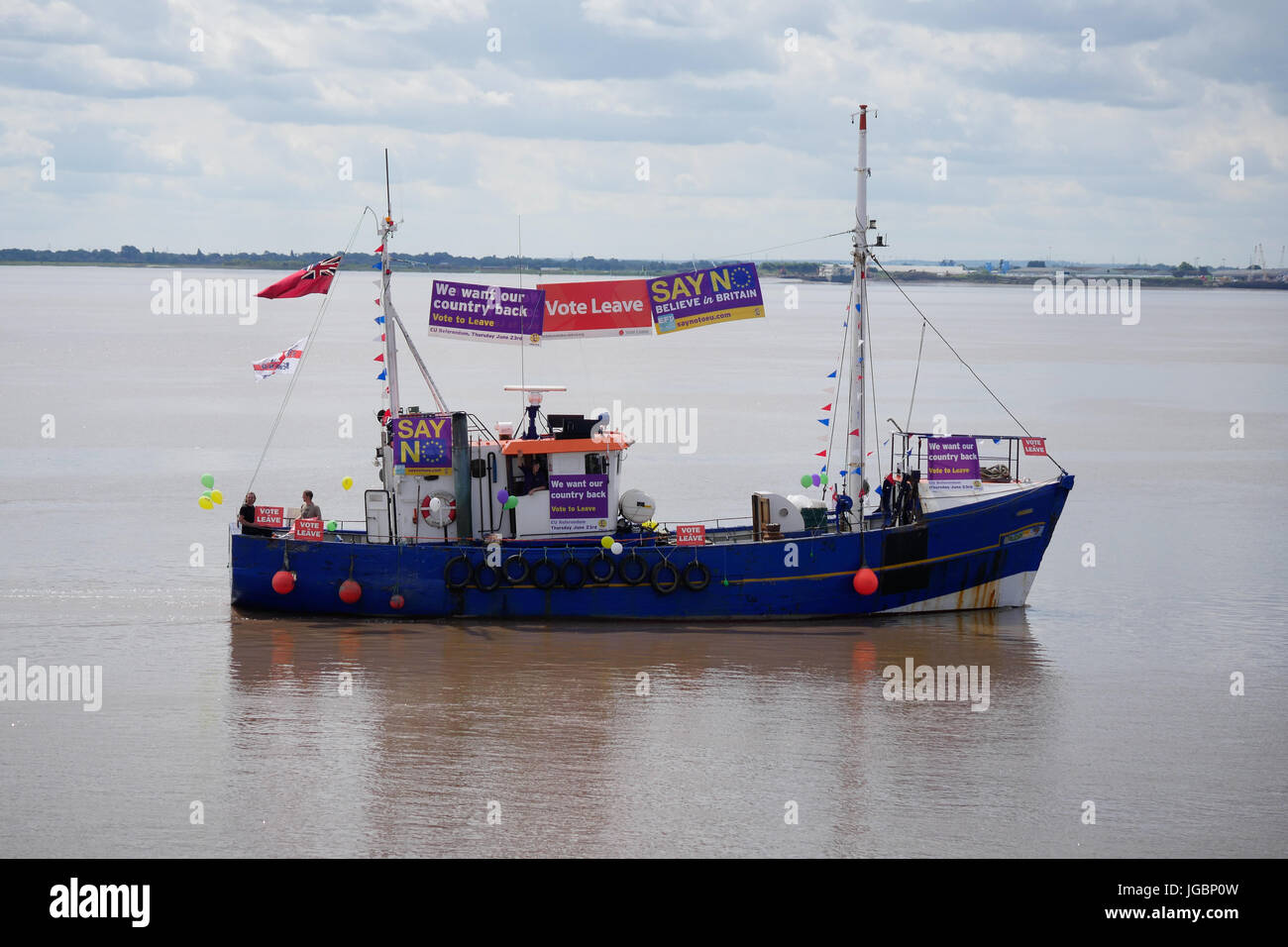 A fishing boat supporting leave the European Union referendum campaign. Part of the protest flotilla in The river Stock Photo