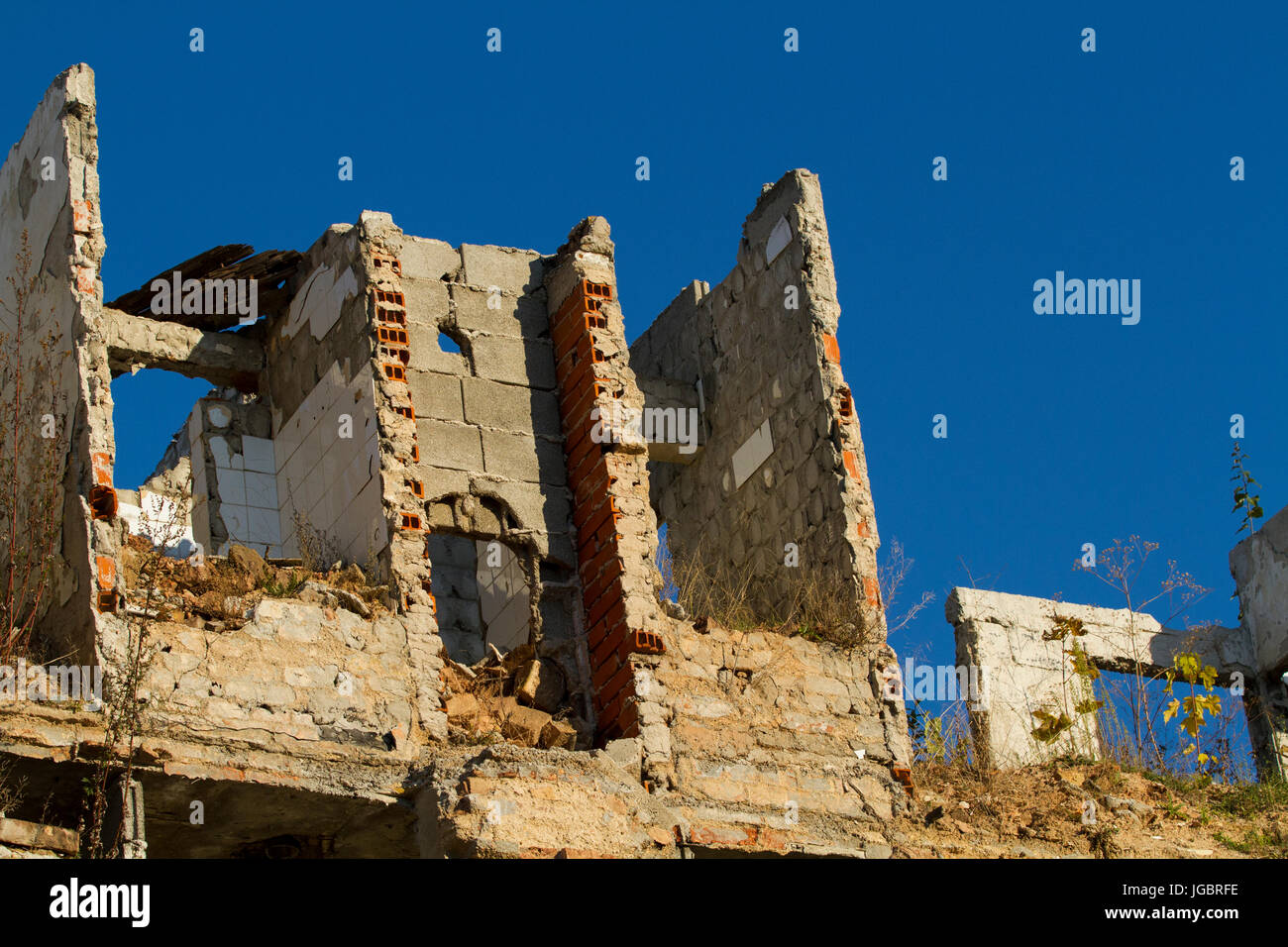A building destroyed by war, Bosnia. - Stock Image