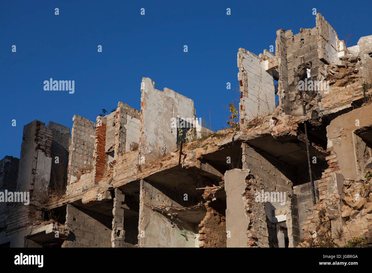Buildings destroyed by war, Bosnia. - Stock Image