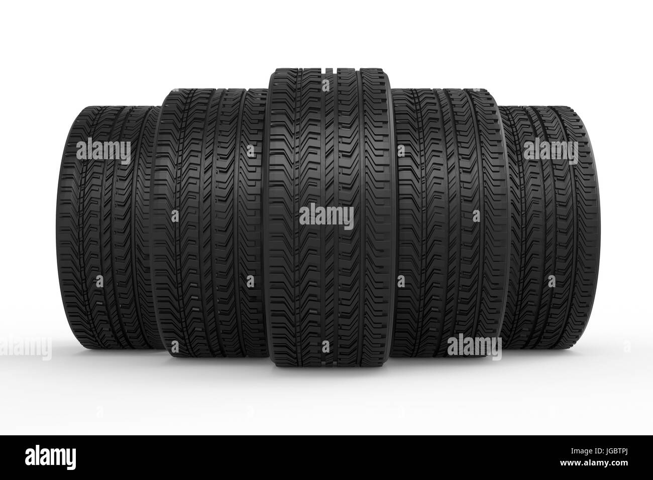 3d rendering black tires with tread pattern - Stock Image