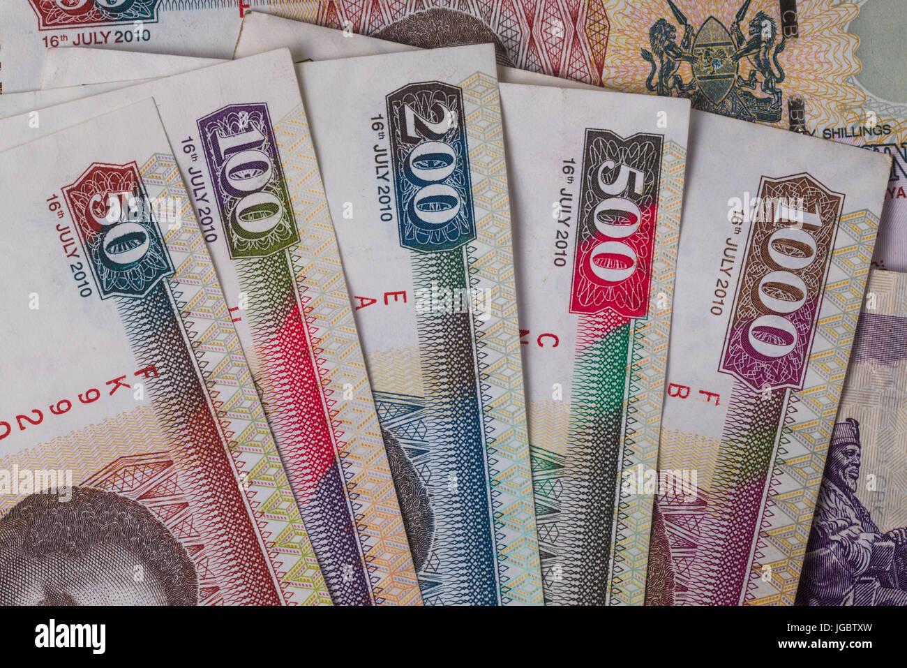 Kenyan Shilling Bank Notes In Various Denominations - Stock Image