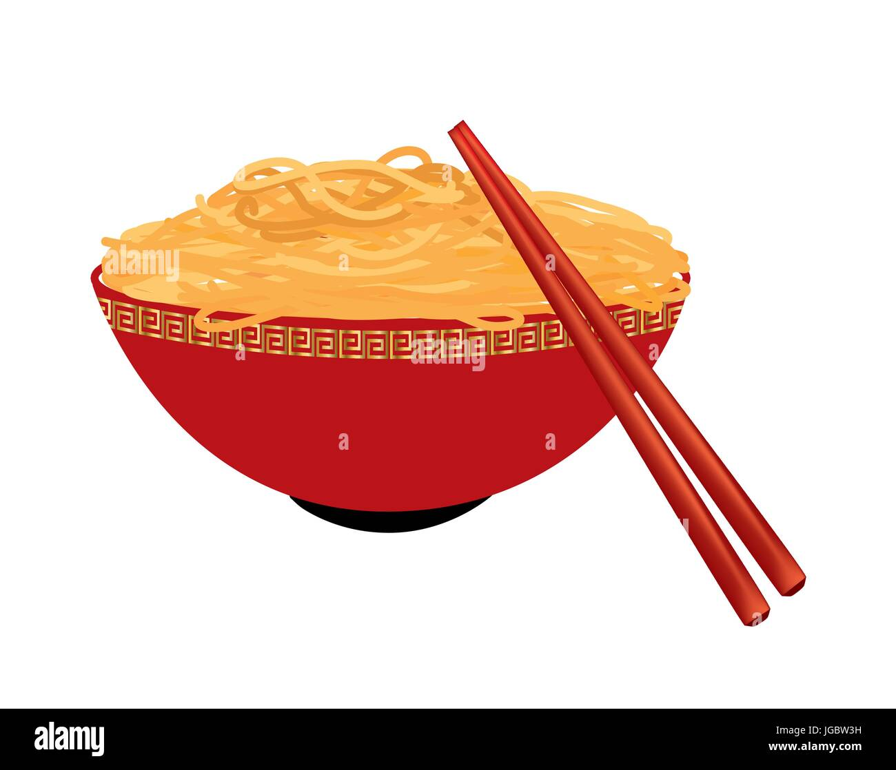 Bowl of noodles on white background - Stock Vector
