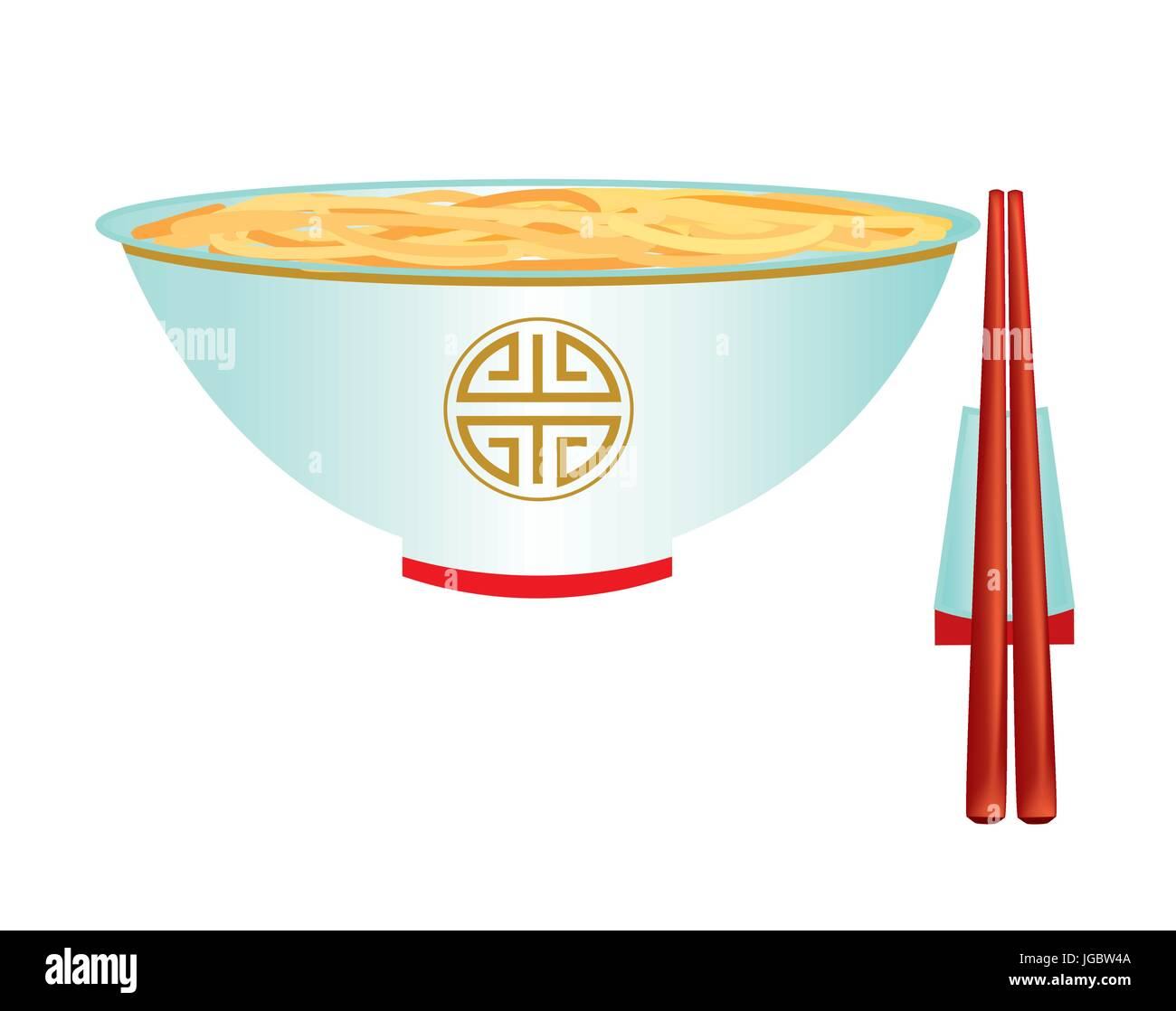 Porcelain bowl with noodles on white background - Stock Vector