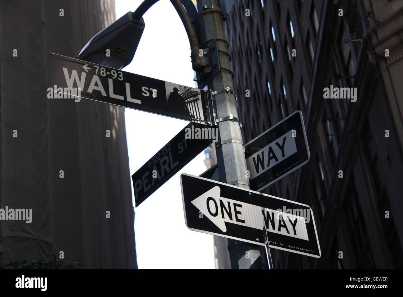 Wall Street One Way - Stock Image