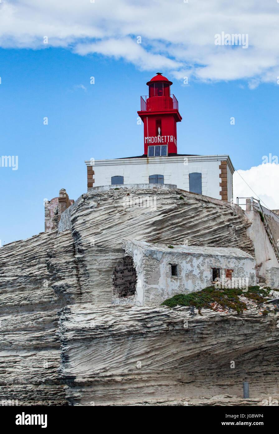 The cliffs of Bonifacio lighthouse Madonetta - Stock Image