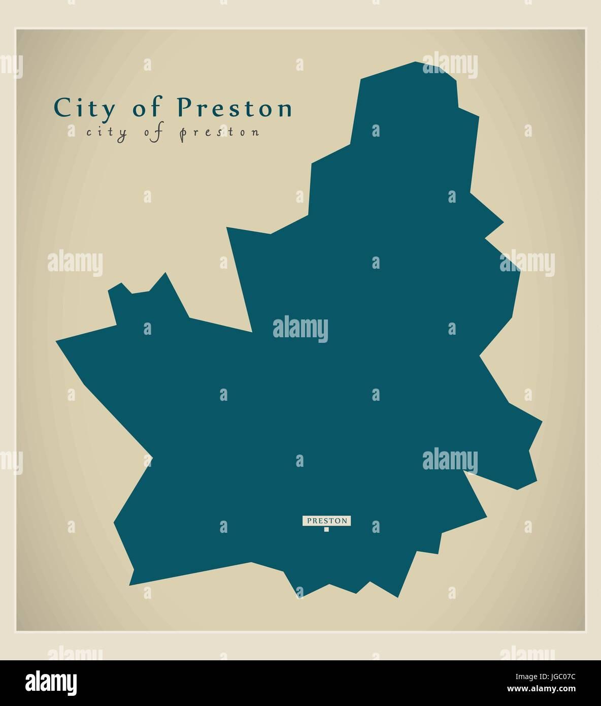 Preston England Map.Modern Map City Of Preston County England Uk Illustration Stock