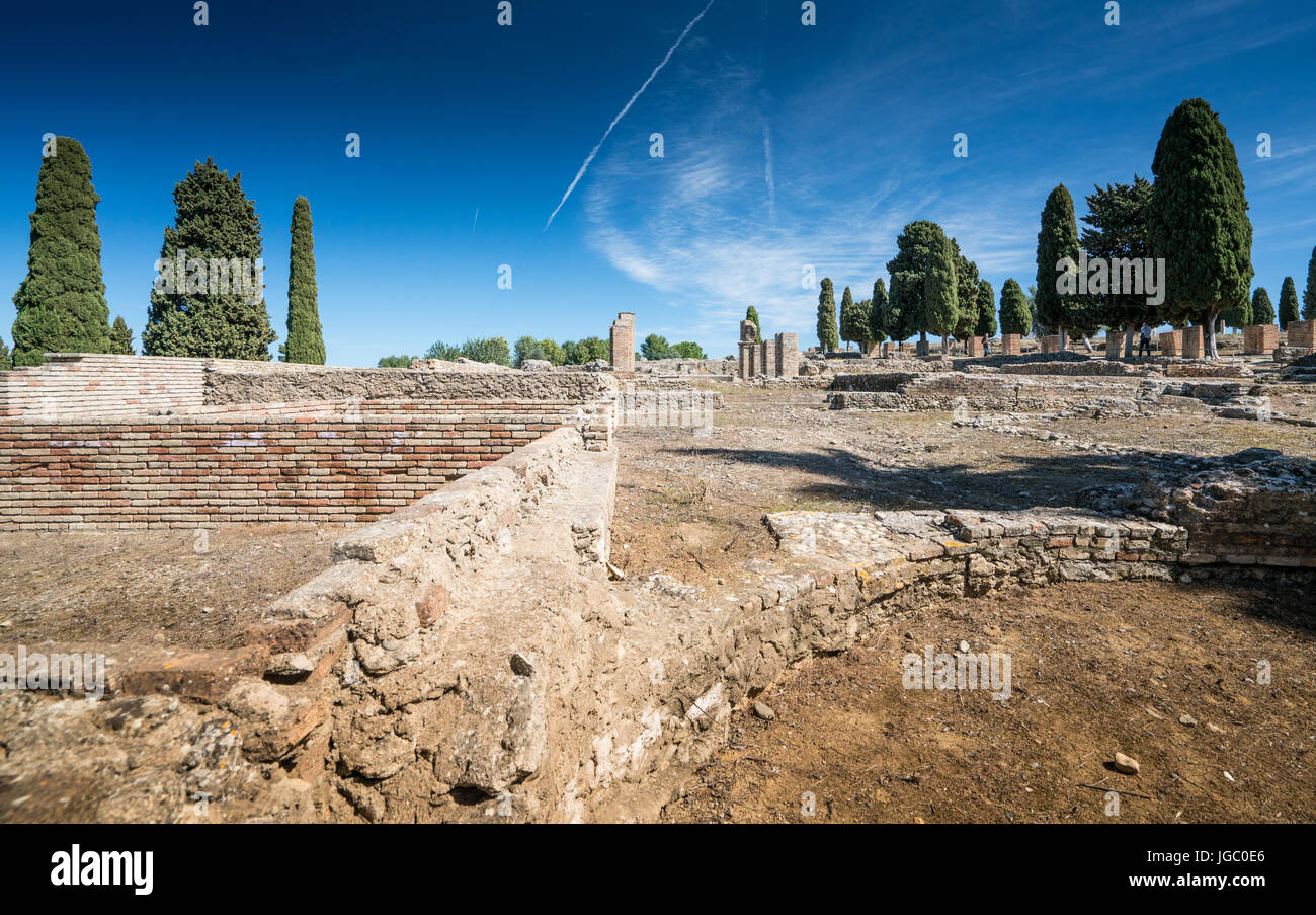 Italica, Roman City ruins and amphitheater at Santiponce in Spain Stock Photo