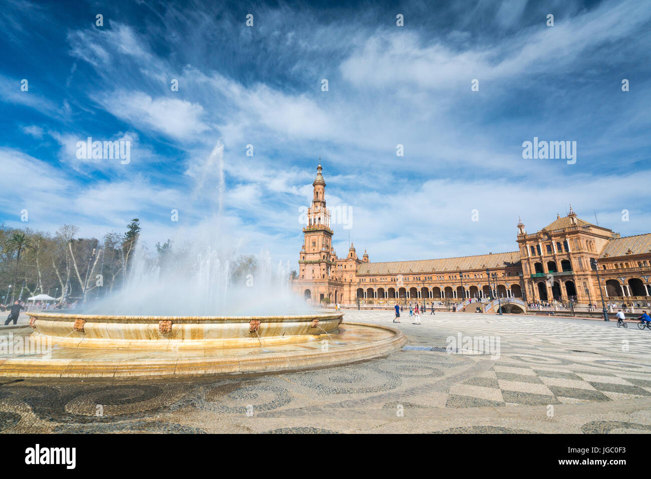Wide angle view of the Plaza de Espanan which was built for the Ibero-american Exhibition of 1929, Seville, Andalucia, Stock Photo