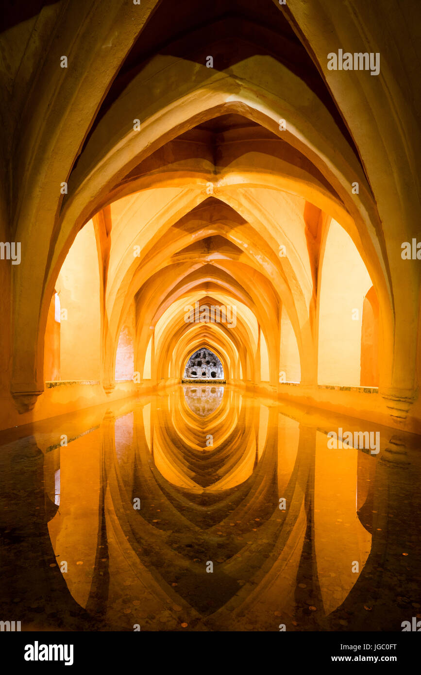 Rainwater baths in the Alcazar, Seville, Andalucia, Spain. Stock Photo