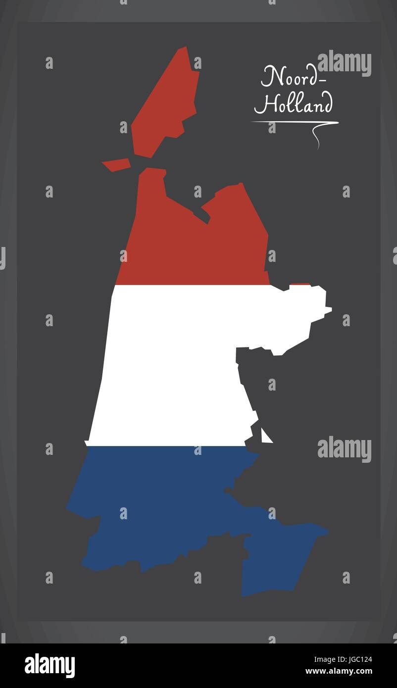 Noord-Holland Netherlands map with Dutch national flag illustration - Stock Vector