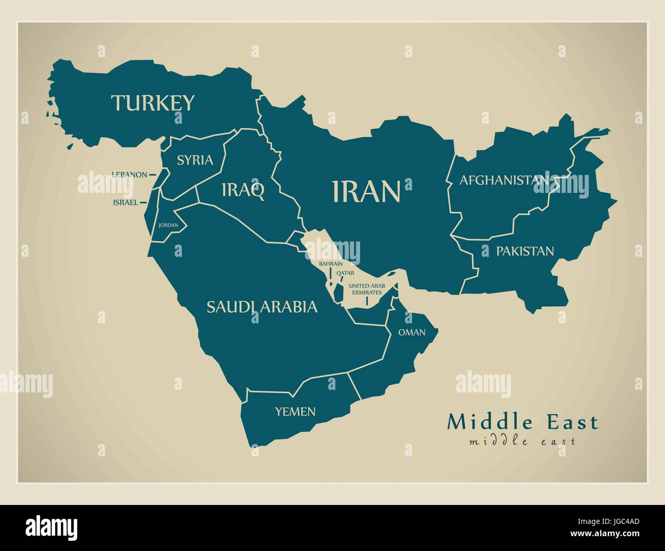 Modern Map - Middle East with countries illustration Stock