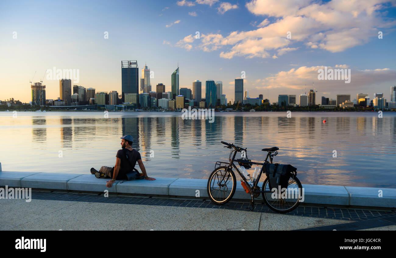 Skyline of Perth along the Swan River, Western Australia - Stock Image