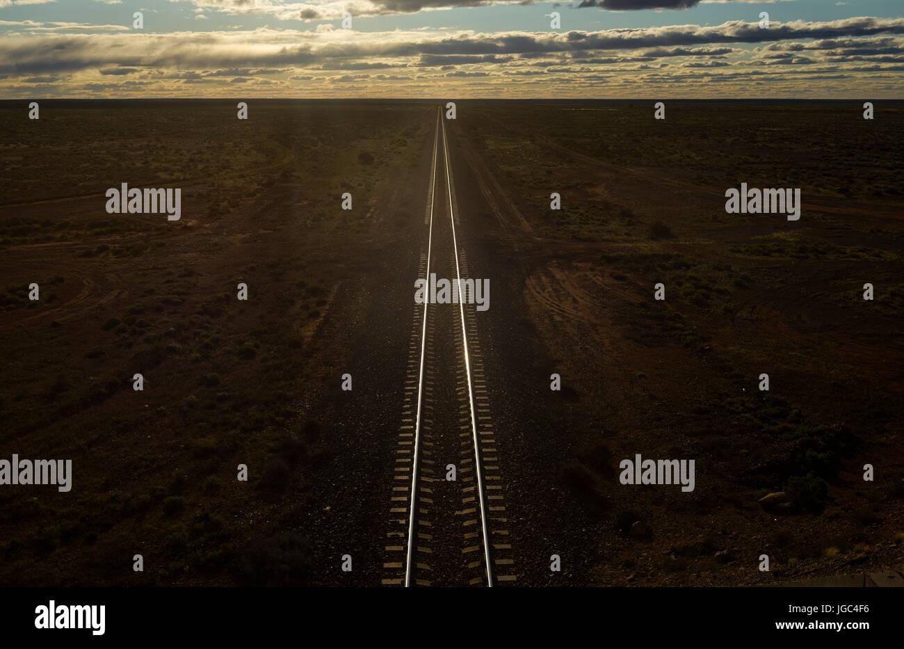 Railroad track in Outback, Australia - Stock Image
