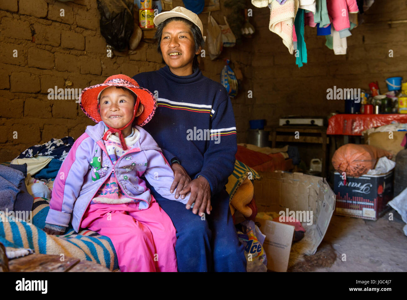 Indigenous people of the Puna region, northern Argentina - Stock Image