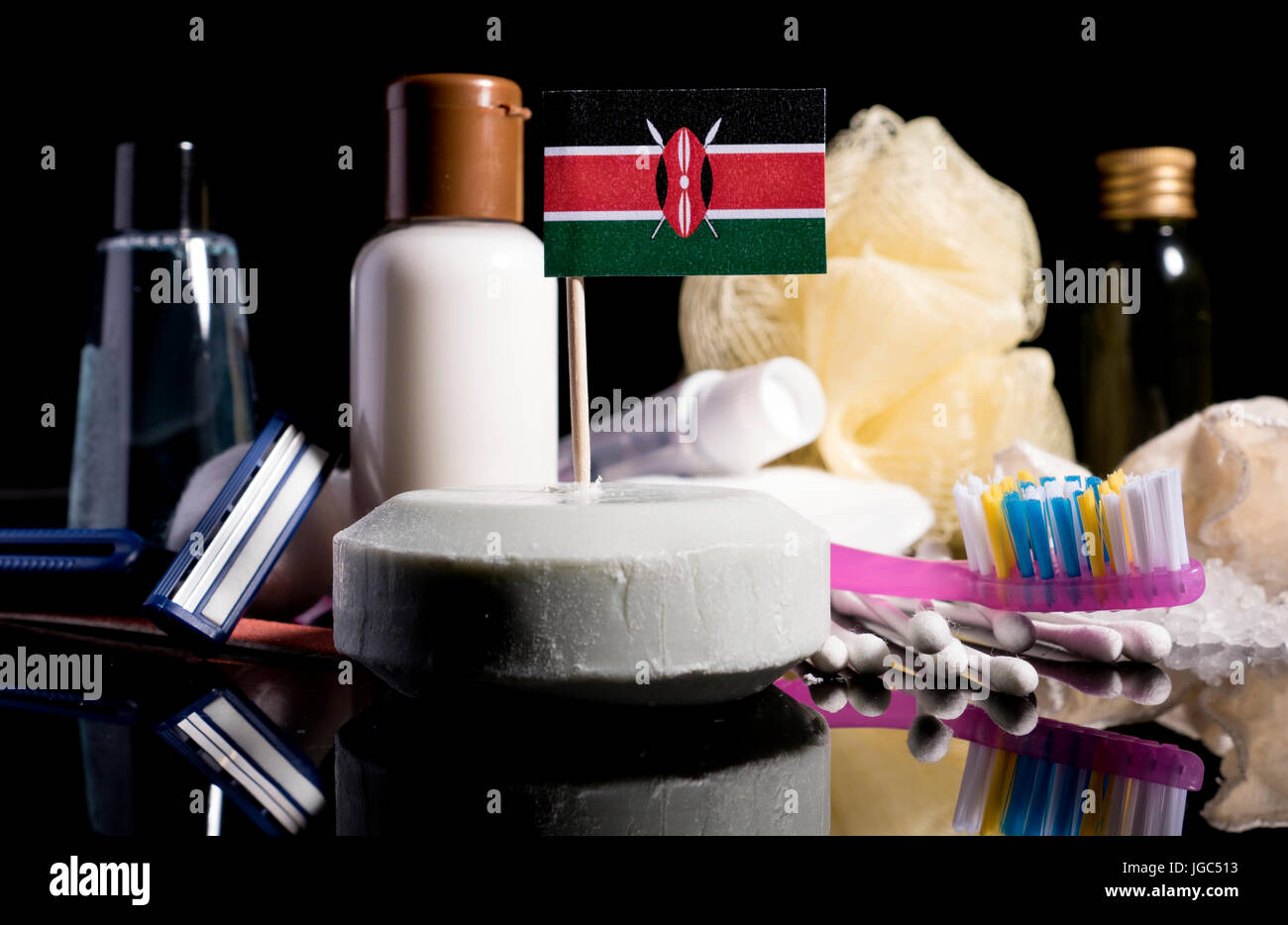 Kenyan flag in the soap with all the products for the people hygiene Stock Photo