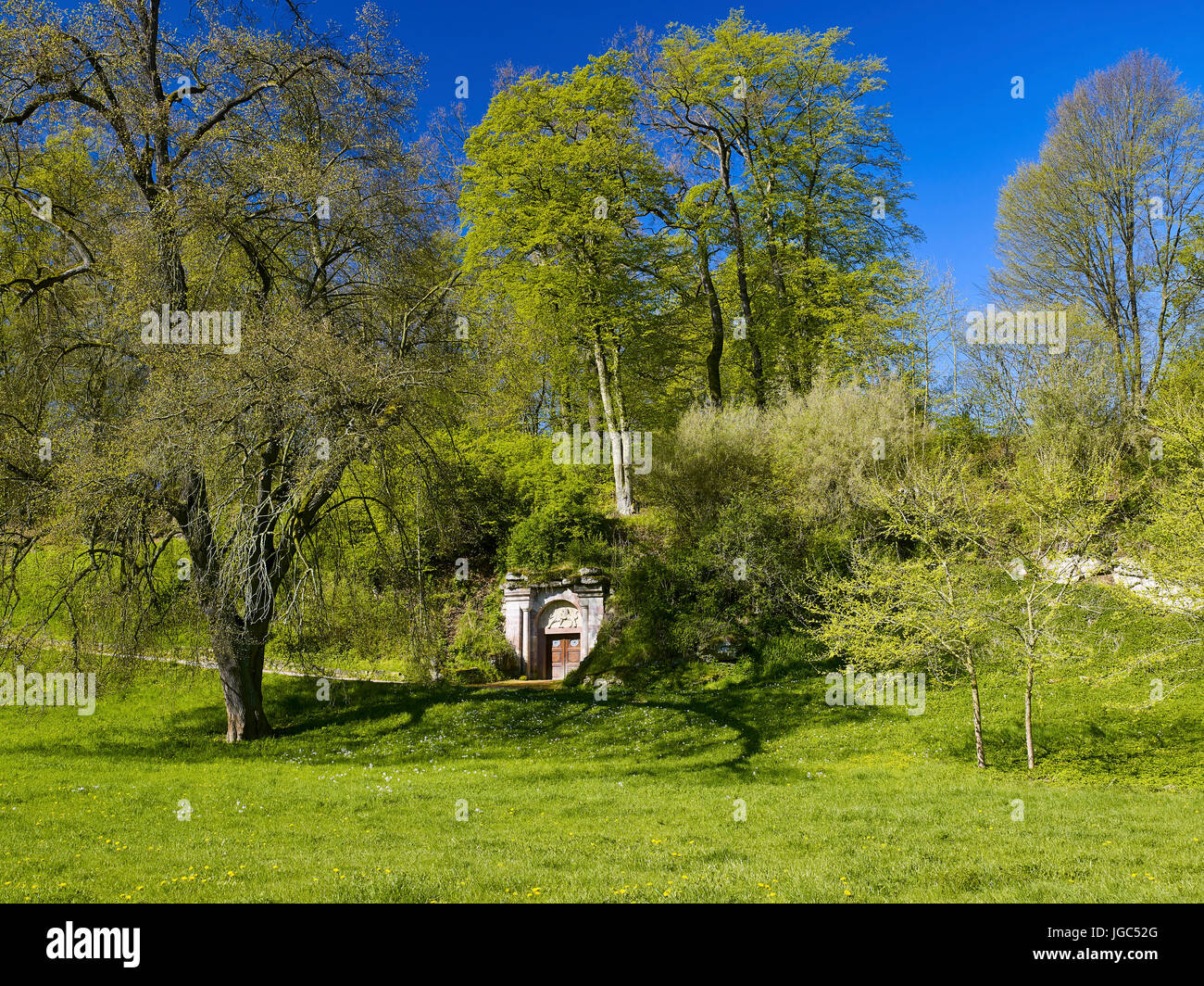 Lion fighters Portal in the Park on the Ilm, Weimar, Thuringia, Germany - Stock Image