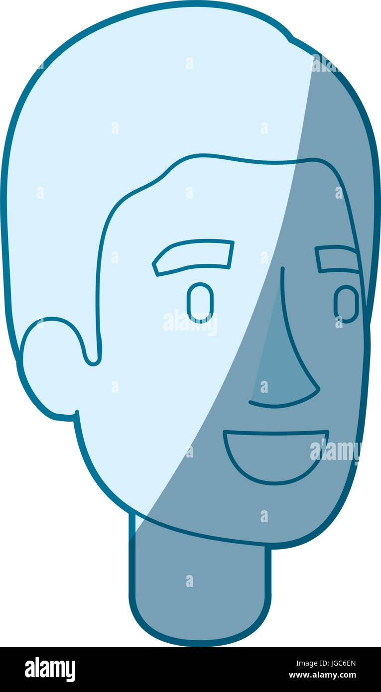 Blue Color Silhouette Shading Of Young Man Face With Simple Hair Stock Vector Image Art Alamy