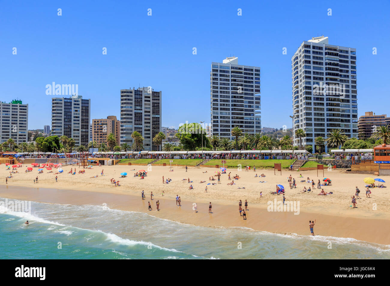 Beach, Viña del Mar, Chile, South America - Stock Image