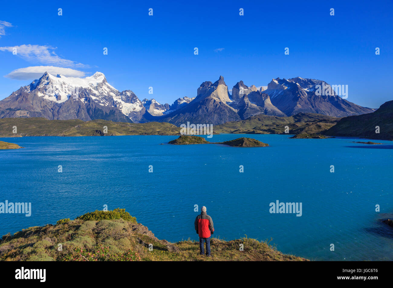 Hiker in the National Park Torres del Paine, Patagonia, Chile - Stock Image