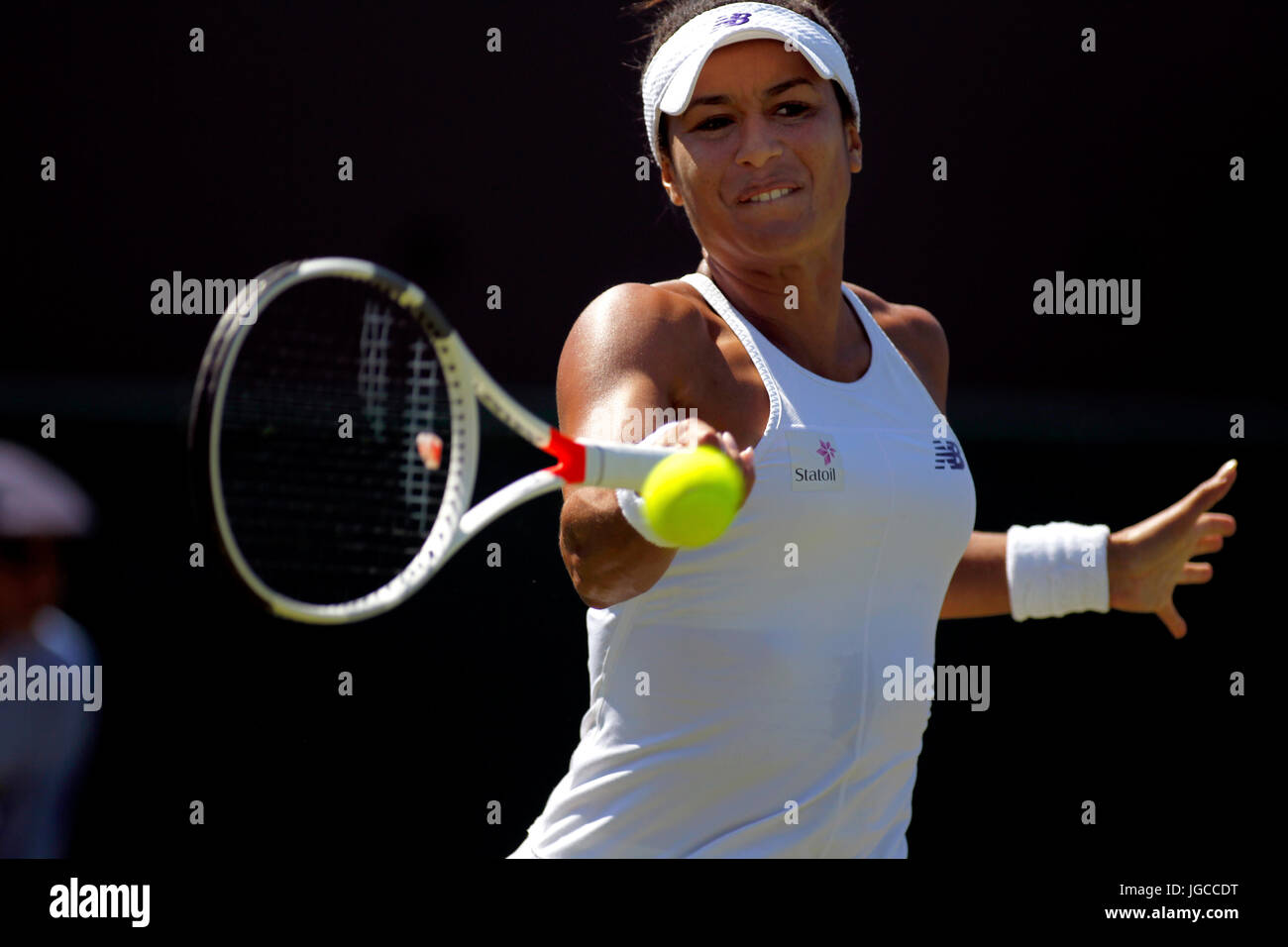 London, UK. 05th July, 2017.  Heather Watson of Great Britain in action during her second round match at Wimbledon - Stock Image