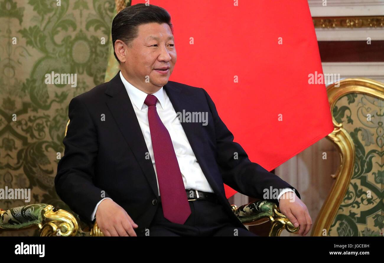 Chinese President Xi Jinping during bilateral talks with Russian President Vladimir Putin in the Kremlin July 4, - Stock Image