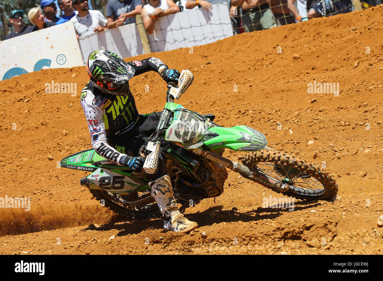 Clement Desalle #25 (BEL) in Kawasaki of Monster Energy Kawasaki Racing Team in action during the MXGP World Championship Stock Photo