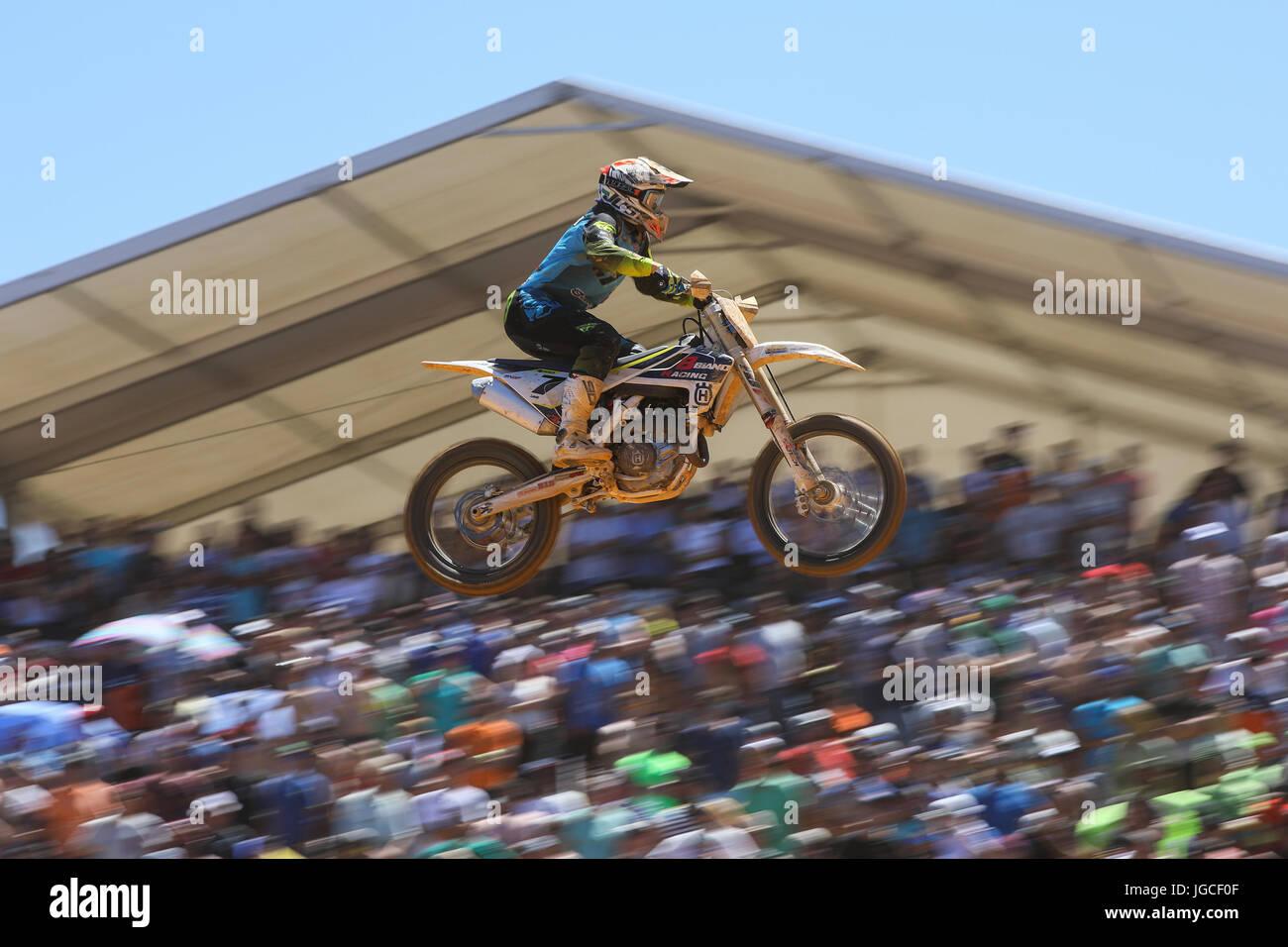 Tanel Leok #7 (EST) in Husqvarna of 8Biano Racing Husqvarna in action during the MXGP World Championship 2017 Race - Stock Image