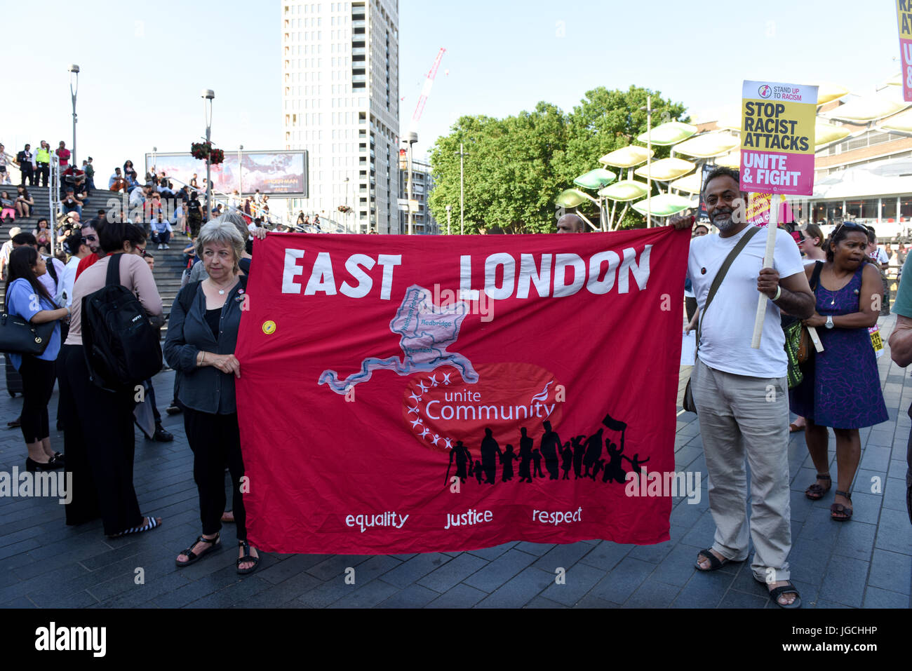 London, UK. 05th JUL 2017. 'STOP ACID ATTACKS' emergency protest outside the Stratford station in East London. - Stock Image